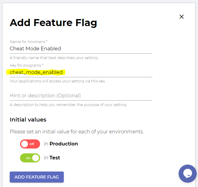 auto generated feature flag key